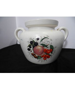 Vintage McCoy 342 Oven Proof White Fruit Pattern Glaze Bean Pot Tureen P... - $22.76
