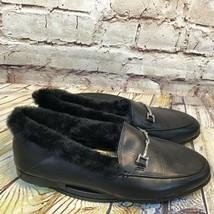 Sam Edelman Black Horse Bit Faux Fur Trimmed Slip On Flats Size 7.5 - $37.08