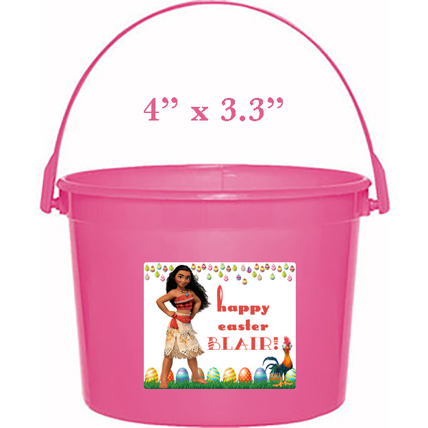 Moana Easter Basket Sticker, Waterproof and Personalized