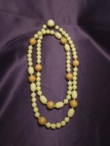 Vintage Joelian Bead Wood Lucite 37 Inch Necklace Beaded Debossed Designs - $22.28