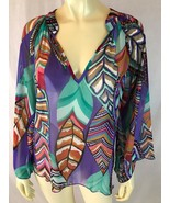 Karlie Blouse S Sheer Multicolor Abstract V-Neck Pullover 3/4 Sleeves Po... - $33.66