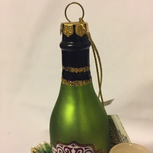 Kurt Adler Tuscan Winery Glitter Chardonnay Wine Bottle Grapes Cheese