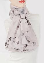 New CEJON Spot Print Chiffon Women's Scarf Wrap Mauve Grey - €8,26 EUR