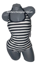 NWT DKNY swimsuit 10 halter maillot striped black cream Donna Karan New ... - $54.31