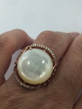 Vintage Genuine Mother Of Pearl Rose Gold 925 Sterling Silver Size 9.5 Ring - $143.55