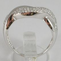 White Gold Ring 750 18k, Veretta with Zircon Cubic, Braided, Wavy image 3
