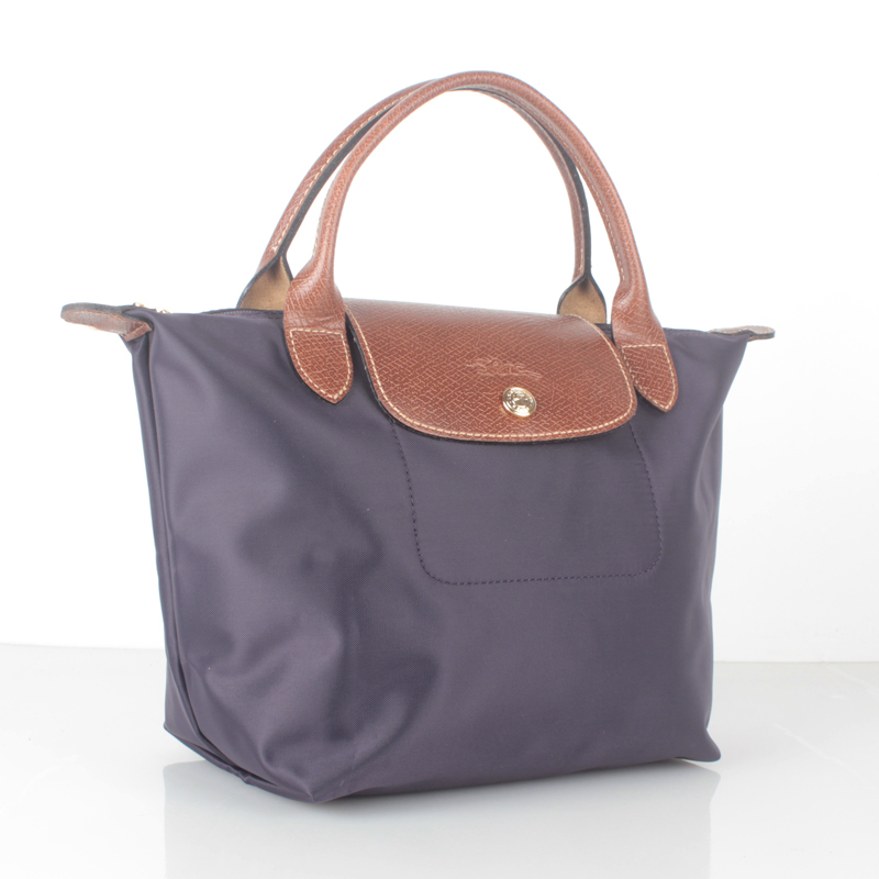 Longchamp Le Pliage Small Short Handel Nylon Handbag Bilberry 1621089645