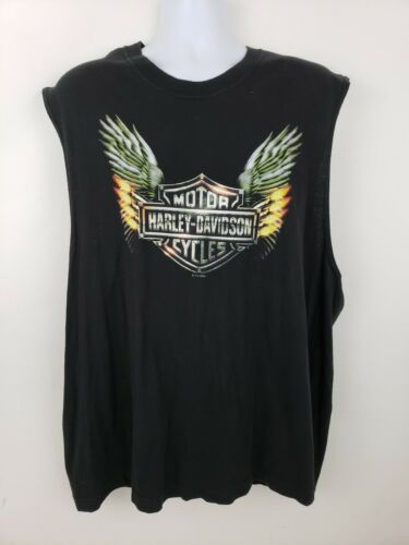 Harley-Davidson Motorcycle Sleeveless Black T-shirt Wichita Kansas Wings Size XL