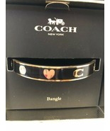 COACH NEW IN BOX BANGLE BRACELET GOLD BLACK ENAMEL HEART STAR CRYSTAL DE... - $75.00
