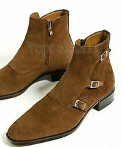 Handmade Men's Leather Brown Three Buckle Side Zip Hunter Ankle Boots - $247.49
