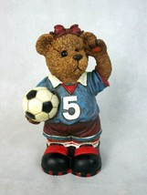"Vintage Resin Girl Teddy Bear Bank with Soccer Ball 10"" tall - $12.34"