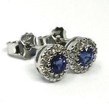 18K WHITE GOLD FLOWER EARRINGS ROUND SAPPHIRES 0.73 CT, DIAMONDS FRAME 0.23 CT image 3