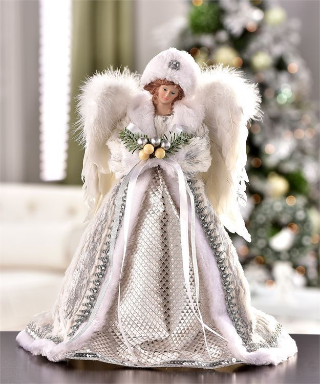 "16"" Angel Design Tree Topper Wearing White Robe with White Wings Freestanding"