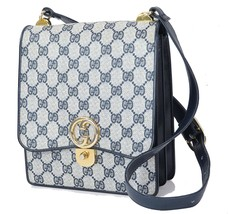 Authentic Vintage GUCCI Blue GG Canvas and Leather Shoulder Bag Purse #2... - $429.00