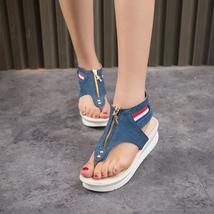 cover clip toe shoes jean women's denim fashion cool new sandals punk beach 8Z80z