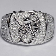 Mens Diamond Scorpion Pinky Ring 14K White Gold Zodiac Sign Jewelry Cust... - $1,880.00
