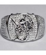 Mens Diamond Scorpion Pinky Ring 14K White Gold Zodiac Sign Jewelry Cust... - $1,880.00