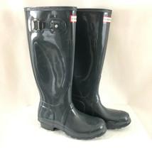 Hunter Womens Rain Boots Original Tall Gloss Rubber Gray Size 6 - $96.74