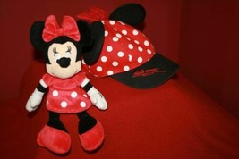 2Pc Disney Parks Minnie Mouse Hat Cap Red Polka Dot Bow W/ Ears Youth  + MINNIE  - $26.96