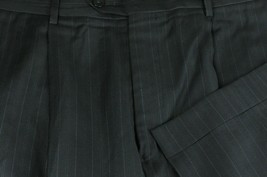 Armani Collezioni Men's Black & Blue Striped Pleated Wool Dress Pants 36 x 31 - $80.99