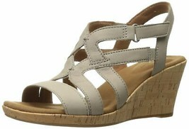 Rockport Women's Briah Caged Wedge Sandal 9.5 New Taupe Nubuck - $69.93