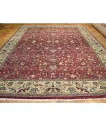 Wool Handmade Rug 10 x 14 Floral Dense Durable Oriental Burgundy Jaipur Rug - $1,372.25