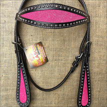 Western Horse Headstall Tack Bridle American Leather Black Pink Inlay U-K-HS - $63.95