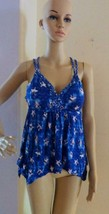 $39 American Rag Junior's Printed Handkerchief‑Hem Top, Blue, Size S - $9.55