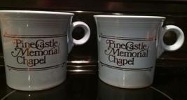 Vintage Pr Blue Fiesta Tea Coffee Mugs FL Advrtsng Pine Castle Memorial Chapel   - $73.49