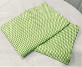 "Pottery Barn Kids 2 Panels Green Check Curtains 42"" W x 59"" L (ea. Panel) - $31.68"