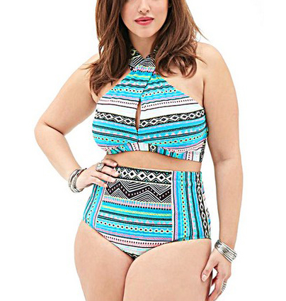 Women's Plus Size Push Up Two Pieces Crossover High Waist Bikini Set