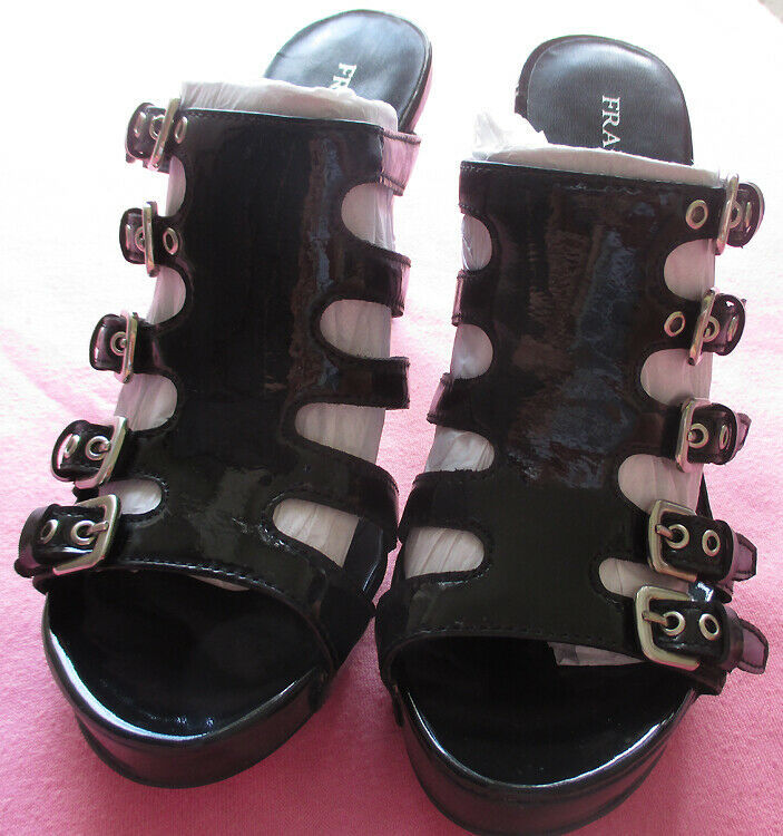 Franco Sarto Asset Patent Leather Strappy Slide Buckle Heels Sandals Shoes 6.5 image 7