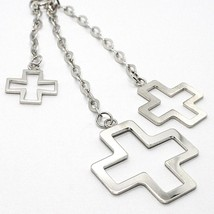 Silver 925 Necklace, Chain Venetian, Three Crosses Hanging, Shiny and Satin image 2