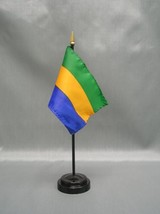"GABON 4X6"" TABLE TOP FLAG W/ BASE NEW DESK TOP HANDHELD STICK FLAG - $4.95"