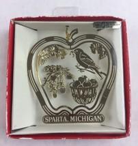 Nations Treasures Sparta Michigan Bird Apple Tree Brass Metal Souvenir Ornament - $15.00