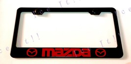 Red Mazda 2 3 5 Stainless Steel Black License Plate Frame Rust Free W/ Caps - $13.85