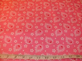 1/2 Yd Vintage Floral Andover Quilt Fabric Koala Floral Print Flamingo P... - $4.99