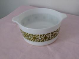 "Vintage Pyrex #473  ""Square flowers/Verde"" casserole with lid - $20.00"