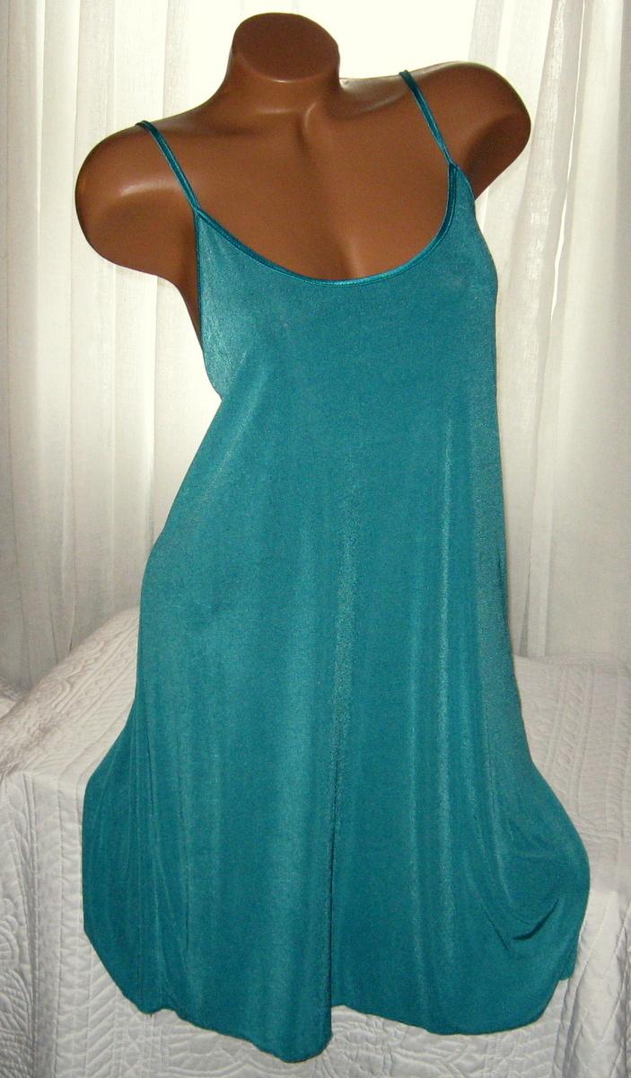 Stretch Nylon Nightgown Slip Chemise 1X Plus Size Jade Green
