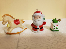 "Porcelain Santa HOMCO Rocking Horse X-Mas Christmas Ornaments 1"" - $9.99"