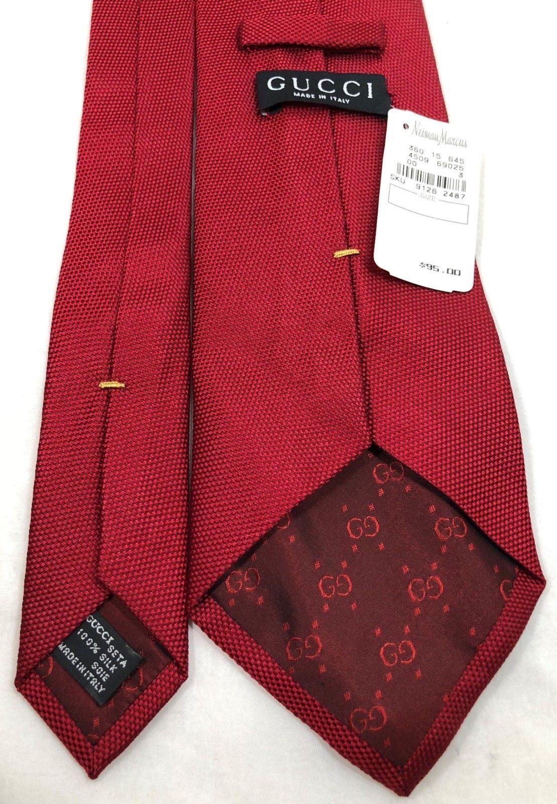 0e2844696176 57. 57. Previous. Gucci Nieman Marcus Vintage 1996 NWT Silk Necktie Tie RED  Italy ...