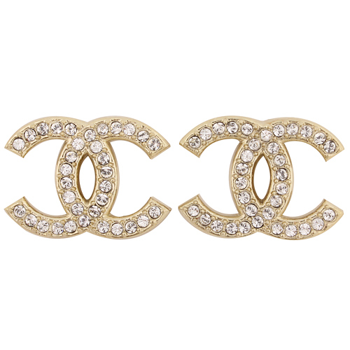 Authentic Chanel Classic Large CC Logo Crystal Light Gold Stud Earrings