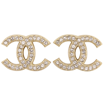 Authentic Chanel Classic Large CC Logo Crystal Light Gold Stud Earrings  - $429.99