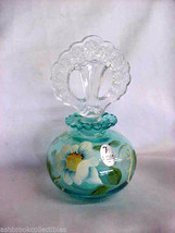 Fenton Art Glass Hand Painted Copper Blue Perfume Bottle with Stopper 53... - $99.00