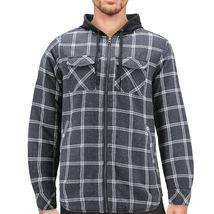 Tony Hawk Men's Casual Flannel Zip Up Plaid Sherpa Hoodie Lightweight Jacket image 5