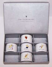 LOVELY SET OF 5 POTTERY BARN CHRISTMAS SANTA'S REINDEER NAPKIN RINGS IN BOX - $28.70