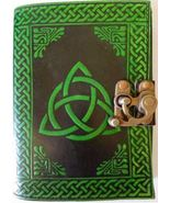 Green Triquetra leather blank book with latch 240 page - $32.99
