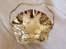 Vintage IKORA Germany Silver Plated Metal candy dish with handle footed basket - $19.80