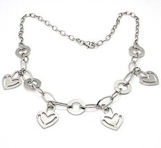 925 Silver Necklace Chain Oval, Waterfall, Hearts Flat pendants, heart image 2