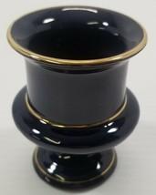 AG) Vintage T. Limoges Navy Blue With Gold Trim Pedestal Bud Vase Stand ... - $9.89